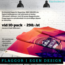 Flagga 240x150, 10-pack, egen design