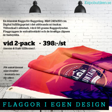 Flagga 240x150, 2-pack, egen design