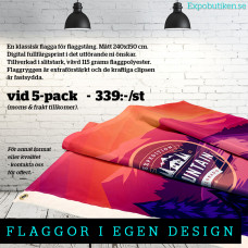 Flagga 240x150, 5-pack, egen design